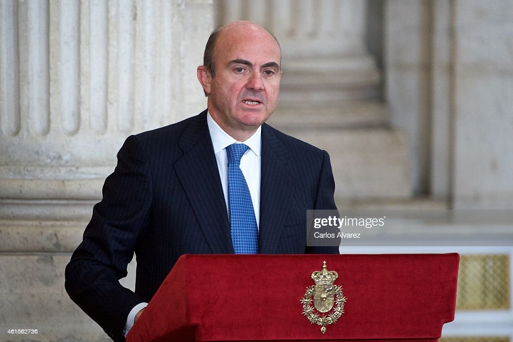 Spanish minister of the Economy and Finance <a gi-track='captionPersonalityLinkClicked' href=/galleries/search?phrase=Luis+de+Guindos&family=editorial&specificpeople=8756055 ng-click='$event.stopPropagation()'>Luis de Guindos</a> attends the Investigation National Awards 2014 at the Royal Palace on January 15, 2015 in Madrid, Spain.