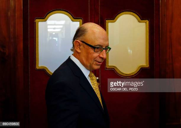 Spanish Minister of the Treasury and Public Function Cristobal Montoro arrives at the Spanish Congress on May 31 2017 Spain's prime minister at the...