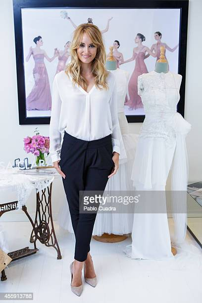 Spanish model Alba Carrillo designs her wedding dress at 'Rosa Clara Boutique' on September 22 2014 in Madrid Spain