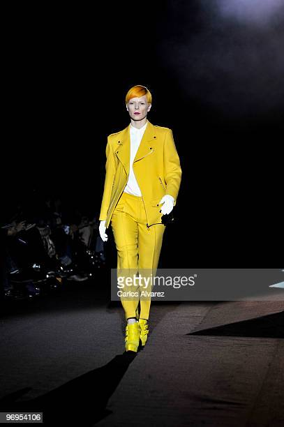 Spanish model Bimba Bose walks down the runway at the David Delfin show during Cibeles Madrid Fashion Week Autumn/Winter 2010 on February 22 2010 in...