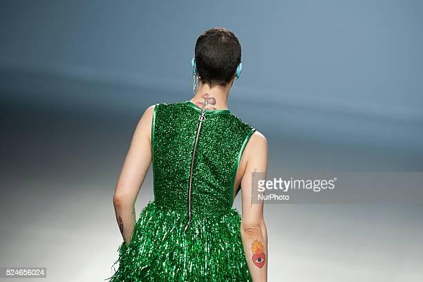 Spanish model Bimba Bose walks the runway in the Davidelfin fashion show during the Mercedes Benz Fashion Week Madrid Spring/Summer 2015 at Ifema on...