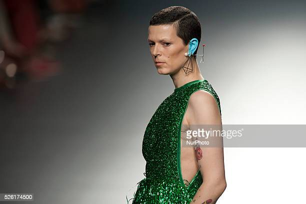 Spanish model Bimba Bose walks the runway in the Davidelfin fashion show during the Mercedes Benz Fashion Week Madrid Spring/Summer 2015 at Ifema on...