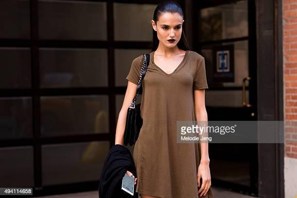 Spanish model Blanca Padilla exits the Cushnie et Ochs at Milk Studios on September 11 2015 in New York City Blanca keeps the slicked back hair and...