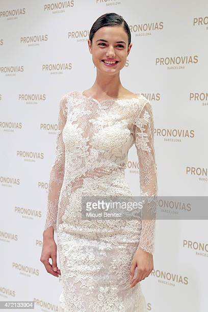Spanish model Blanca Padilla poses during a press presentation for the Atelier Pronovias 2016 collection on May 4 2015 in Barcelona Spain