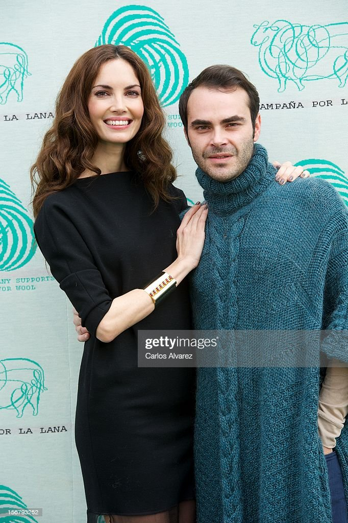 Spanish model Eugenia Silva and designer Ion Fiz inaugurate the Wool Week 2012 at Plaza de Colon on November 21, 2012 in Madrid, Spain.