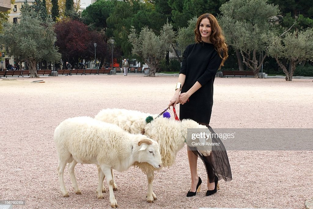 Spanish model Eugenia Silva inaugurates the Wool Week 2012 at Plaza de Colon on November 21, 2012 in Madrid, Spain.