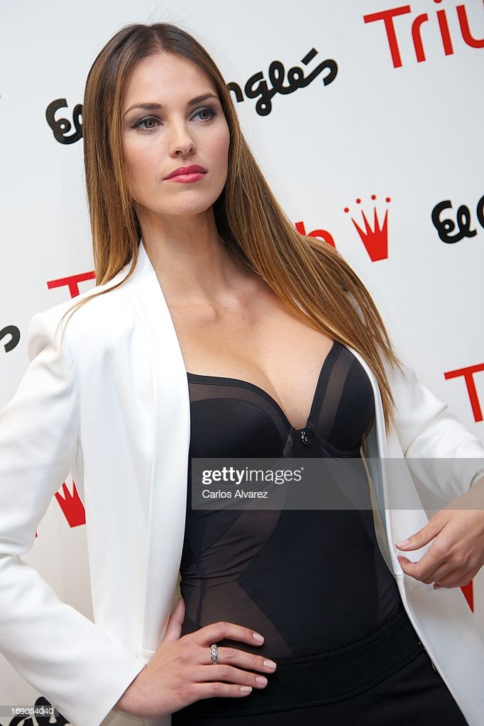 Spanish model Helen Lindes presents the 'Shape Sensation' new Triumph collection at the Corte Ingles Serrano store on May 30, 2013 in Madrid, Spain.
