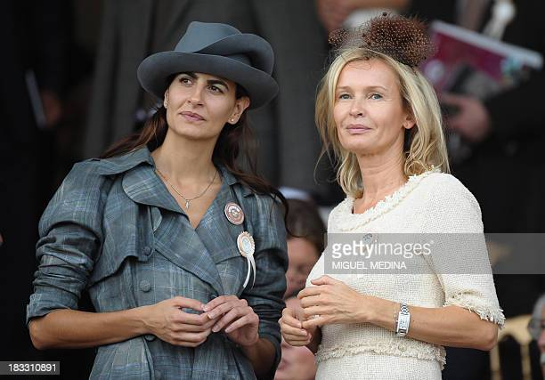 Spanish model Irene Salvador attends the Qatar Prix De L'Arc De Triomphe meeting at Longchamp racecourse outside Paris on October 3 2010 AFP PHOTO...