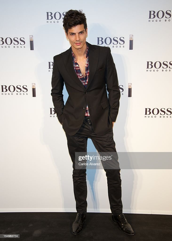 Spanish model <a gi-track='captionPersonalityLinkClicked' href=/galleries/search?phrase=Javier+de+Miguel&family=editorial&specificpeople=4392315 ng-click='$event.stopPropagation()'>Javier de Miguel</a> attends the new 'Boss Nuit Pour Femme' Hugo Boss parfum presentation at the Neptuno Palace on October 29, 2012 in Madrid, Spain.