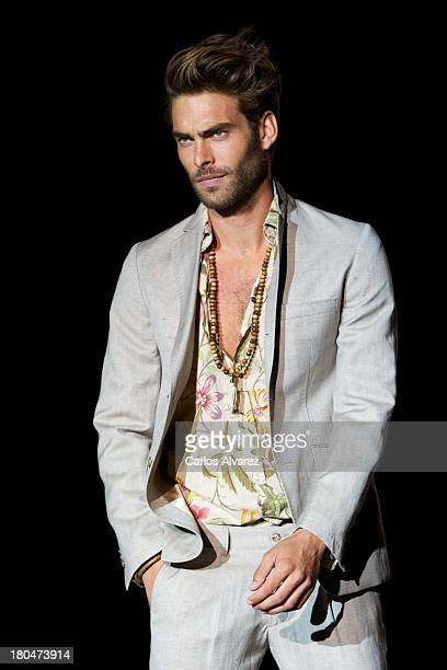 Spanish model Jon Kortajarena showcases designs by Roberto Verino on the runway at Roberto Verino show during Mercedes Benz Fashion Week Madrid...