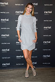 Spanish model Laura Sanchez and David Ascanio present 'Merkal' Shoes New Collection on October 8 2014 in Madrid Spain