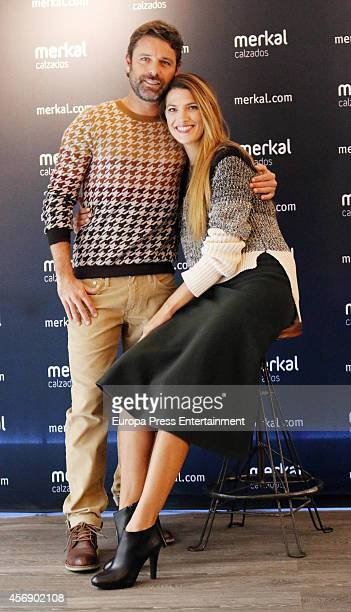 Spanish model Laura Sanchez and singer David Ascanio present 'Merkal' Shoes New Collection on October 8 2014 in Madrid Spain