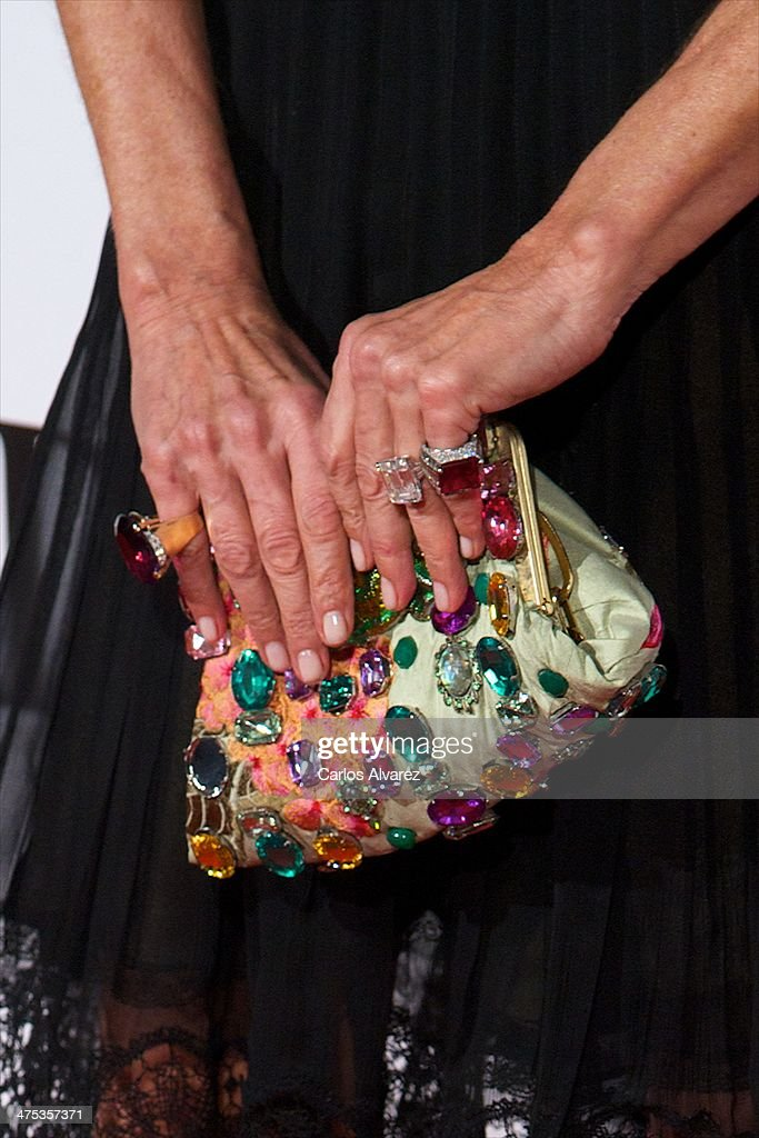 Spanish model Nati Abascal (bag detail) attends the AD Awards 2014 at the Santa Coloma Palace on February 27, 2014 in Madrid, Spain.