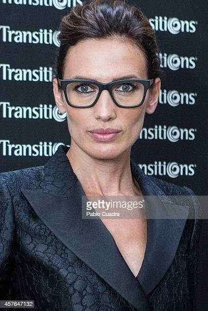 Spanish model Nieves Alvarez poses during a photocall to present 'Matsuda' Glasses Masterclass on October 22 2014 in Madrid Spain