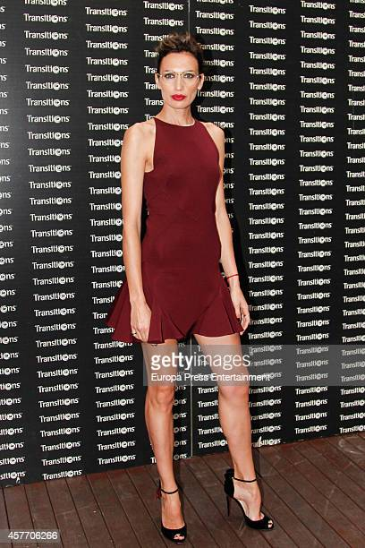 Spanish model Nieves Alvarez poses during a photocall to present 'Transition' lenses Masterclass on October 22 2014 in Madrid Spain