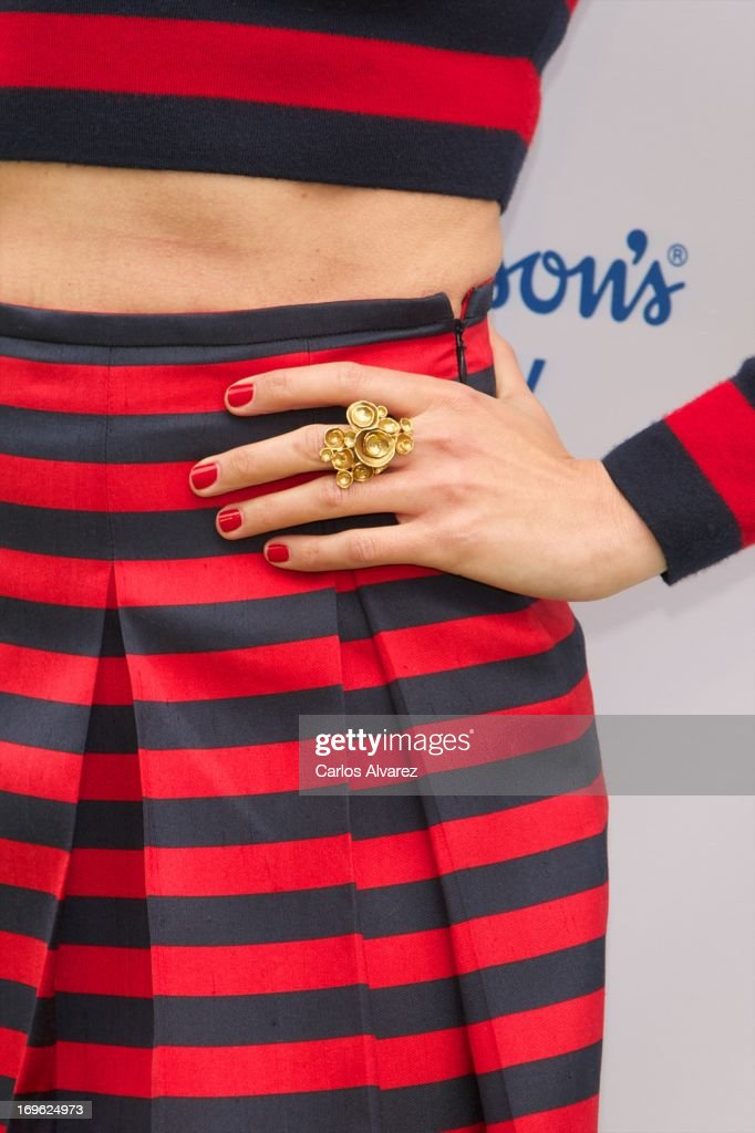 Spanish model Nieves Alvarez (ring detail) presents Johnson's Baby with Aloe Vera at the Eurobuilding Hotel on May 29, 2013 in Madrid, Spain.