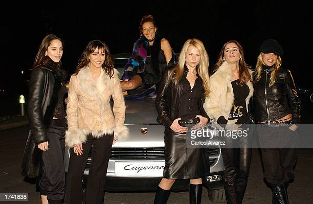 Spanish models Lorena Van Heerde Raquel Navamuel Lucia Hoyos Miriam Reyes Mar Saura and Arancha de Benito pose with the new Porsche model Cayenne SUV...