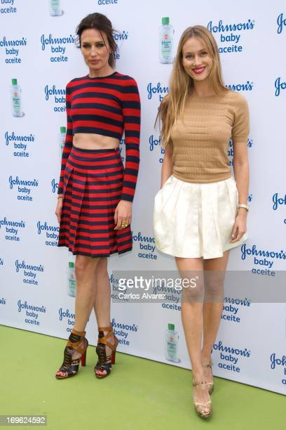 Spanish models Nieves Alvarez and Vanessa Lorenzo present Johnson's Baby with Aloe Vera at the Eurobuilding Hotel on May 29 2013 in Madrid Spain