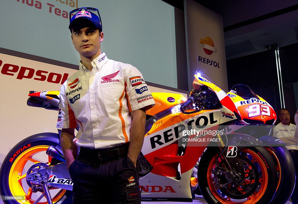 Spanish Moto GP rider Dani Pedrosa poses on January 24, 2013 during the presentation of the Repsol Honda Team 2013 in Madrid.