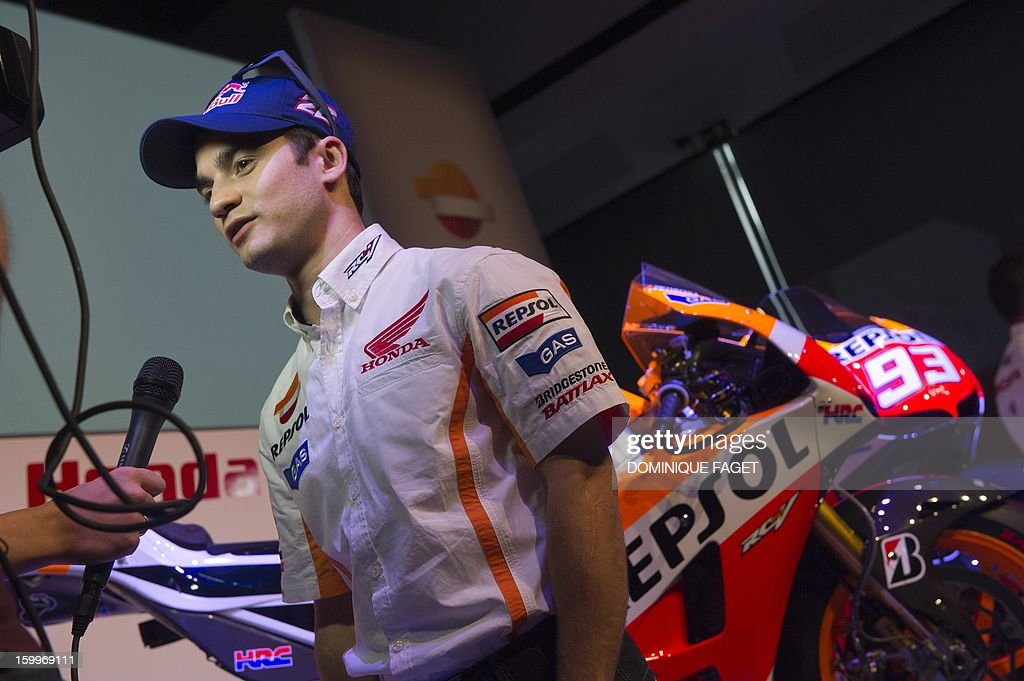 Spanish Moto GP rider Dani Pedrosa talks to journalists on January 24, 2013 during the presentation of the Repsol Honda Team 2013 in Madrid.