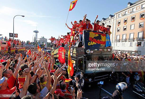 MADRID SPAIN JULY 12 Spanish national football team players celebrate during the Spanish team's victory parade following their victory in the 2010...