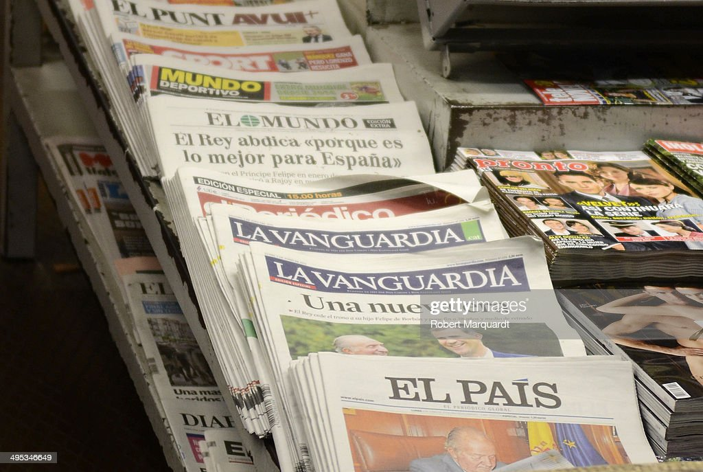 Spanish newspapers released special late editions in reaction to King Juan Carlos of Spain annoucing his abdication from the throne on June 2, 2014 in Barcelona, Spain. King Juan Carlos of Spain has renounced the throne after 39 years and will be succeeded by his son, Prince Felipe of Spain.
