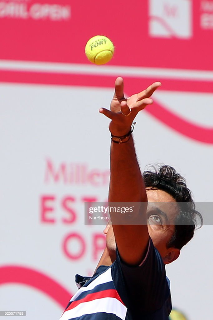 Spanish <a gi-track='captionPersonalityLinkClicked' href=/galleries/search?phrase=Nicolas+Almagro&family=editorial&specificpeople=553850 ng-click='$event.stopPropagation()'>Nicolas Almagro</a> serves a ball to Portuguese Jo��o Sousa during the Millennium Estoril Open ATP 250 tennis tournament at the Clube de Tenis do Estoril in Portugal on April 27, 2016.