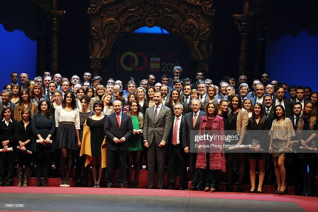 Spanish Olympic Commitee Centenary Gala at El Canal Theatre on December 12, 2012 in Madrid, Spain.