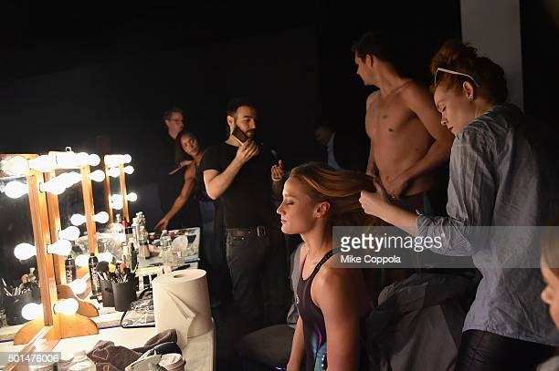 Spanish Olympic swimmer Mireia Belmonte prepares backstage during the New York launch of Team Speedo and Speedo's Fastskin LZR Racer X on December 15...
