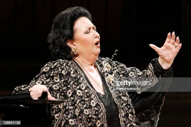 Spanish operatic soprano Montserrat Caballe performs live during a concert at the Philharmonie on January 31 2011 in Berlin Germany