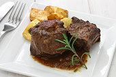 oxtail stew with potato, rabo de toro estofado con patatas, spanish cuisine