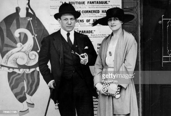 1919 Spanish artist Pablo Picasso pictured with his wife Olga