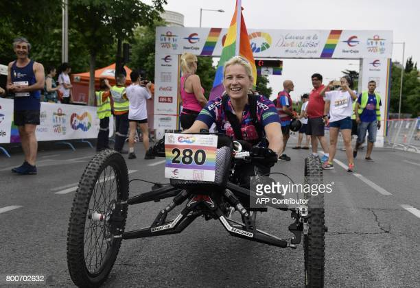 Spanish paralympic athlete Gema HassenBey poses before before the Race of Diversity as part of the WorldPride 2017 celebrations in Madrid on June 25...