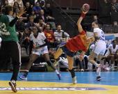 Spanish player Begona Fernandez shoots during the friendly women's handball match France vs Spain on November 30 2012 at the Palais des victoires...