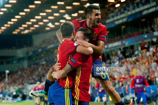 Spanish players celebrate after Saul Niguez hattrick during the UEFA European Under21 Championship SemiFinal match between Spain and Italy at Krakow...