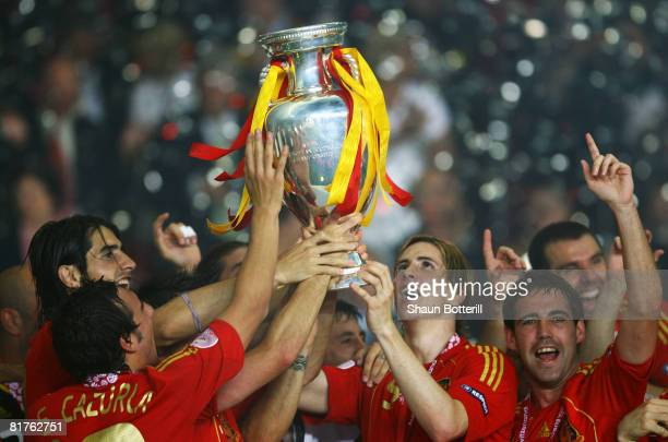 Spanish players lift the trophy after winning against Germany the UEFA EURO 2008 Final match between Germany and Spain at Ernst Happel Stadion on...