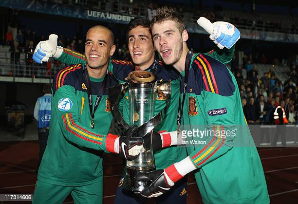 Spanish players lifts the winners trophy after their 20 victory in the UEFA European U21 Championship Final match between Switzerland and Spain at...