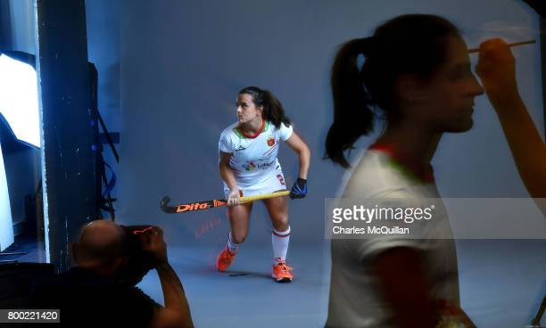 Spanish players participate in a player portrait photo session for FINTRO Hockey World League on June 23 2017 in Brussels Belgium The players are...
