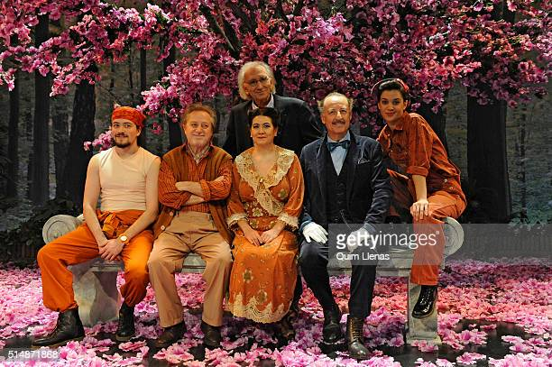 Spanish playwright Jose Luis Alonso de Santos and actors Mariano Estudillo Manuel Galiana Luisa Martin Pedro Miguel Martinez and Marta Guerras pose...