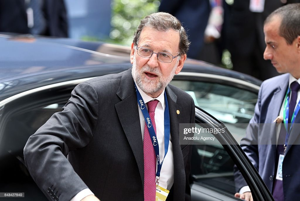 Spanish PM Mariano Rajoy Brey arrives to attend the EU summit meeting on June 28, 2016 at the European Union headquarters in Brussels.