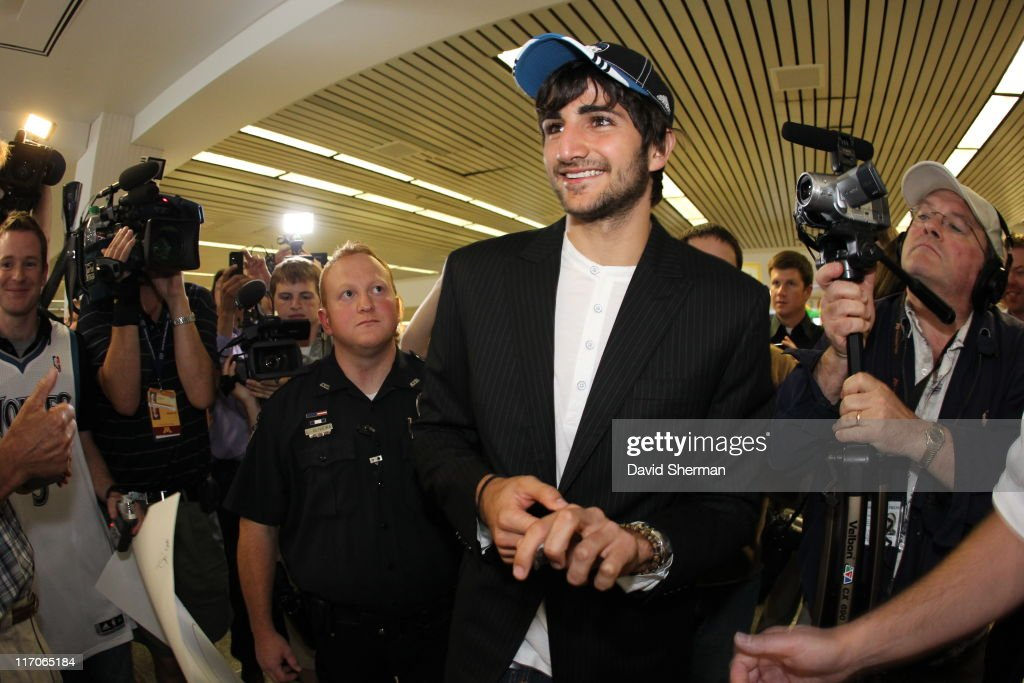 Spanish point guard <a gi-track='captionPersonalityLinkClicked' href=/galleries/search?phrase=Ricky+Rubio&family=editorial&specificpeople=4028920 ng-click='$event.stopPropagation()'>Ricky Rubio</a> of the Minnesota Timberwolves is welcomed by fans upon his arrival from Spain at Minneapolis-St. Paul International Airport on June 20, 2011 in St. Paul, Minnesota. Rubio was drafted to the Timberwolves in 2009 but waited to make his debut until the buyout of his European contract was more manageable.