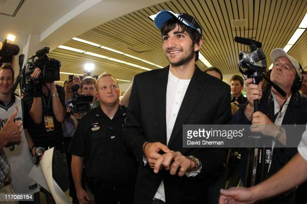 Spanish point guard Ricky Rubio of the Minnesota Timberwolves is welcomed by fans upon his arrival from Spain at MinneapolisSt Paul International...