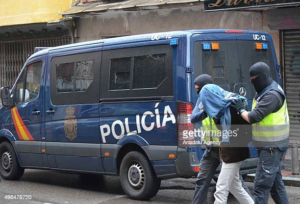 Spanish police officers detain 3 Morocco citizens allegedly linked to Daesh and preparing to individual terror attack in Madrid Spain on November 03...