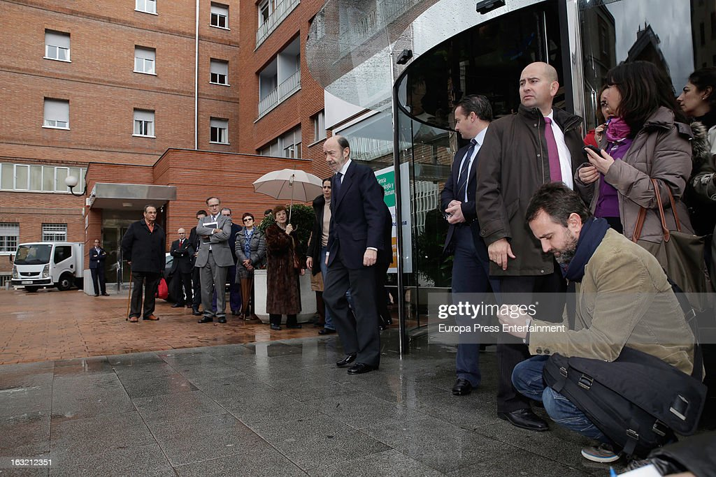 Spanish politician Alfredo Perez Rubalcaba exits La Milagrosa Hospital to speak to the press after visiting King Juan Carlos I of Spain on March 6...