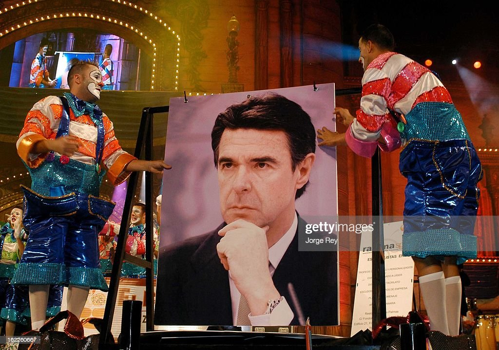 Spanish politicians are displayed in photos during the festival Murgas on February 18, 2013 in Las Palmas de Gran Canaria, Spain.