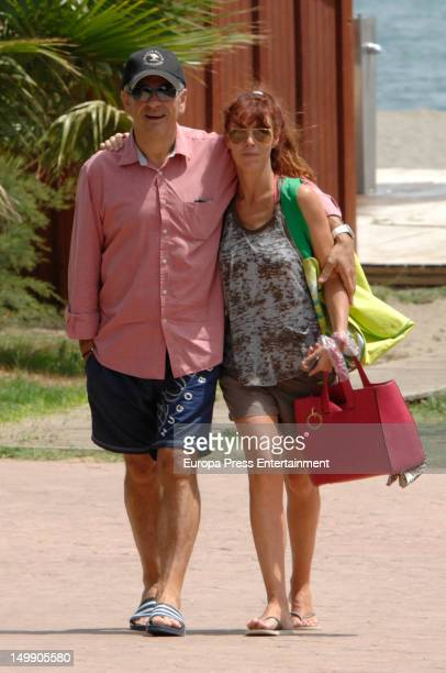 Spanish presenter TV Carlos Sobera is sighted with his wife Patricia Santamaria on August 3 2012 in Marbella Spain