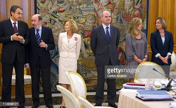 Spanish President Jose Luis Rodriguez Zapatero Spain's Interior Minister Alfredo Perez Rubalcaba and Spain's Finance Minister Elena Salgado Spain's...