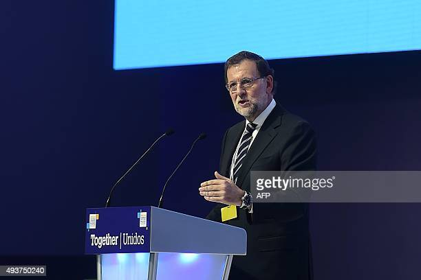 Spanish Prime Minister and leader of the rightwing PP Mariano Rajoy delivers a speech during the European People's Party Statuary Congress in Madrid...