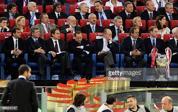 Spanish Prime Minister Jose Luis Rodriguez Zapatero Italian Prime Minister Silvio Berlusconi King Juan Carlos of Spain Uefa president Michel Platini...