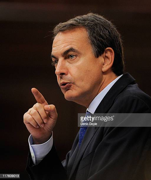 Spanish prime minister Jose Luis Rodriguez Zapatero speaks to the Spanish parliament during the state of the nation debate on June 29 2011 in Madrid...
